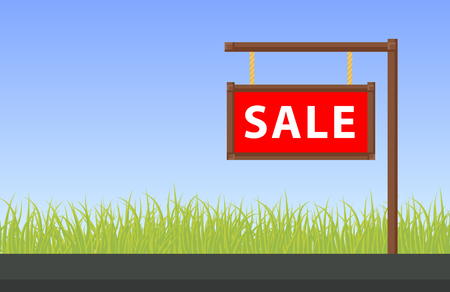 outdoor advertising construction: Banner property sale, flat vector illustration Illustration
