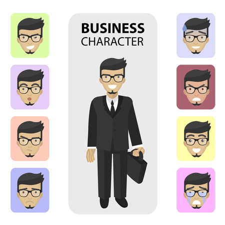 displeasure: Successful businessman, financial officer or manager character. Set business different emotions faces, profile pictures flat icons, avatars characters. Trendy beard and glasses