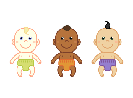 nationalities: Set of cartoon multinational newborn babies. Different nationalities, race, ethnic. Flat vector illustration.