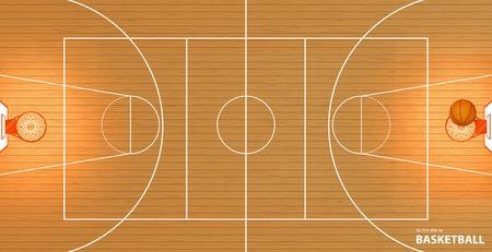 ilustración vectorial de una cancha de baloncesto, vista desde arriba, una pelota en una canasta, el espacio para el texto, lorem ipsum