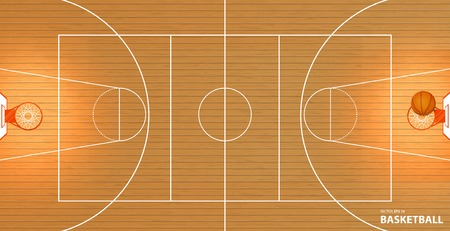 Vector afbeelding van een basketbalveld, bovenaanzicht, een bal in een mand, ruimte voor tekst, lorem ipsum