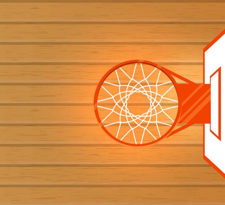 Vector illustration, terrain de basket et basket, vue de dessus