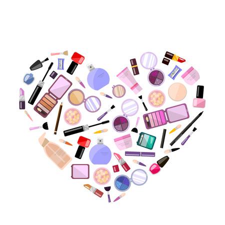 beauty shop: et of decorative cosmetics in heart shape, vector flat illustration, makeup case. Beauty store, shop