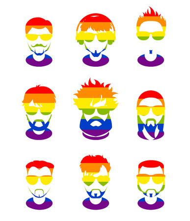 sexuality: Set avatars profile pictures flat icons, different style people characters on LGBT flag background. Trendy beards and glasses.