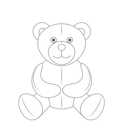 Cute monochrome outline teddy bear, soft toy, vector illustration and art