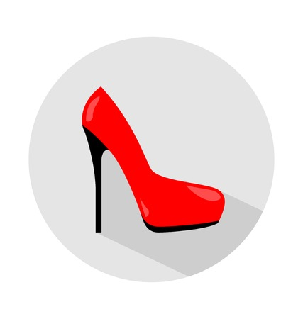 leather goods: Flat colored shoes icon, elegant woman red shoes sign, vector illustration