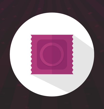 safe sex: Flat color condom icon, safe sex, health, vector illustration Illustration