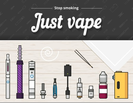 vaporizer: Vape vector illustration of vaporizer and accessories, vaping, flat style