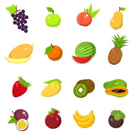red grape: Fruit harvest icons set Illustration