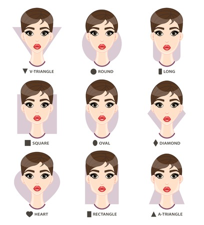 Set of different woman's face shapes. Nine female face forms:  square, v-triangle, a-triangle, round, long, diamond, rectangle, heart, oval. Vector illustration