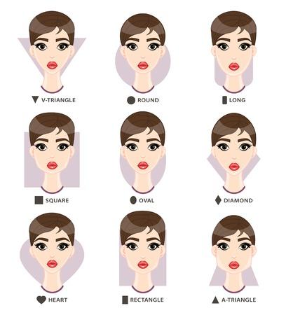 Définir des formes de visage de femme différente. Neuf formes féminines face: carré, v-triangle, un triangle, rond, long, diamant, rectangle, coeur, ovale. Vector illustration