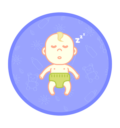 little one: Little cute child, newborn baby sleeping in the cradle, peaceful sleep, childrens pattern on the background, flat vector illustration