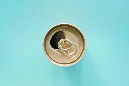 metallic can on white background, view from the top