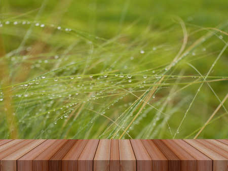 water drop on green grass and wooden table for product display
