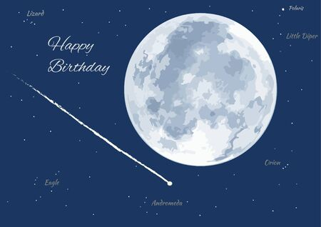 Birthday card with shooting star, moon and constellation. wish something.