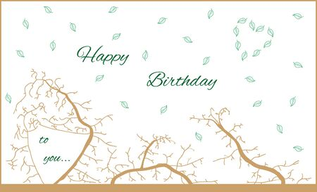 Birthday wood card with falling leafs and nice tree branches. Happy birthday to you. Vectores