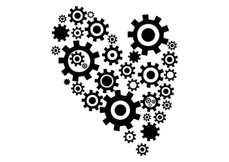 Mechanical beating heart with gears. Icon.