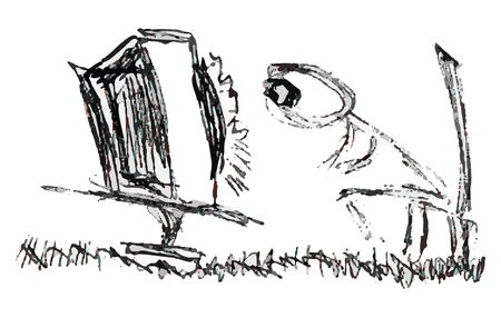 Strange person becomes addicted to television. Sketch. Figure. Foto de archivo - 146348072