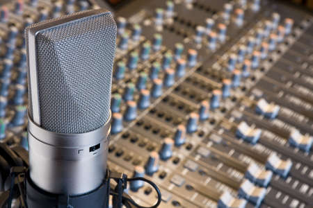 music production: Studio microphone and mixing console