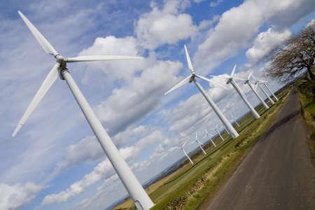 windfarm: Molinos de viento en WindFarm se muestra en vista en perspectiva  Foto de archivo