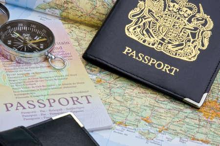 British passport and map Stock Photo
