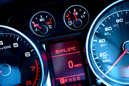 electronic meter: Close up of car dashboard on sports car