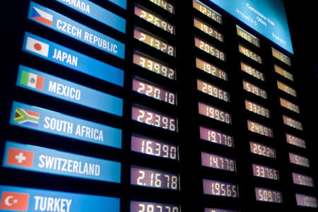 global currencies: Currency exchange rate board