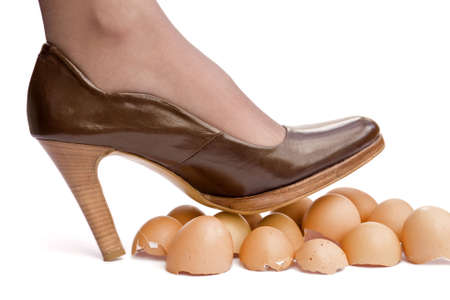 Business sayings, walking on eggshells Stock Photo