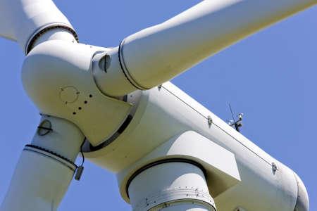 Close up of wind turbine in a windfarm