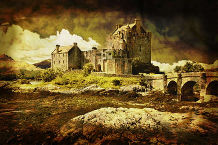 Old Scottish castle in distressed vintage style