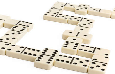 Close up of a white domino game Foto de archivo