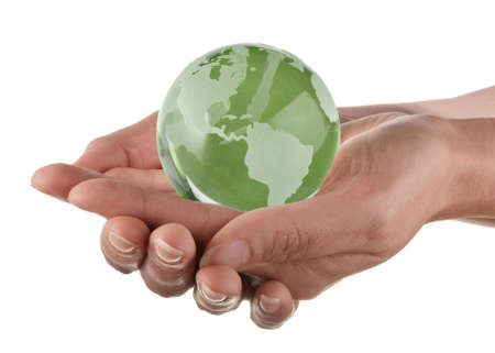 Protecting the earth concept, globe in womans hands Stock Photo - 3402756