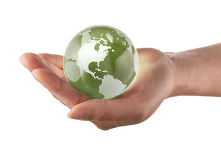 Protecting the earth concept, world in a womans hand Stock Photo - 3402752