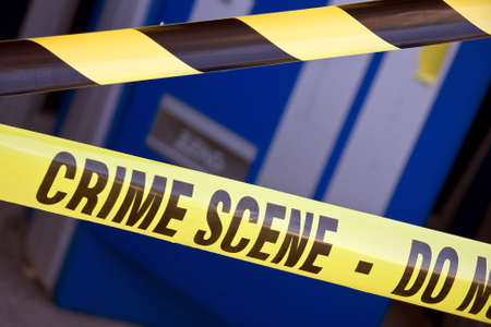 crime scene investigation: Close up crime scene investigation police boundary tape