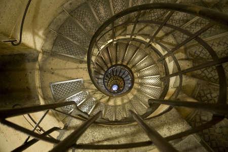 spiral staircase: Spiral staircase in the Arc de Triomphe Paris Stock Photo
