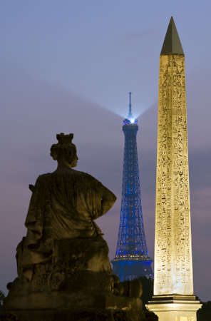 concorde: The Obelisk and Eiffel Tower from Place de la Concorde Stock Photo