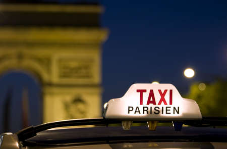 place of interest: Taxi near the Arc De Triomphe in Paris