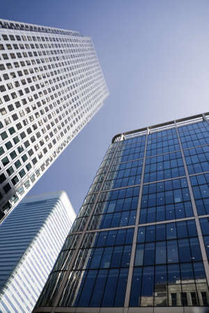 Canary Wharf in London Docklands financial district with copy space photo