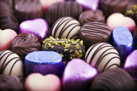 Close up of luxury chocolates, shallow depth of field