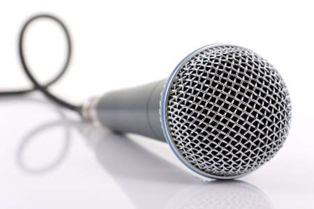 public speaker: Close up of professional stage mic and cable Stock Photo