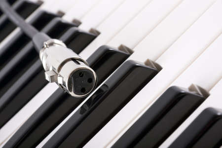 backlit keyboard: close up of female XLR (microphone) connector on piano