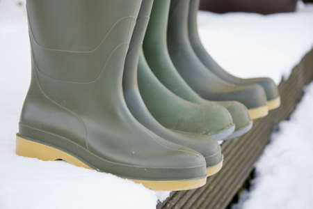 doorstep: Wellington boots on the doorstep ready for adventure in the snow