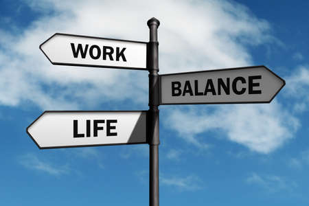 relationship problems: Work-life balance road sign concept for healthy lifestyle and wellbeing choice