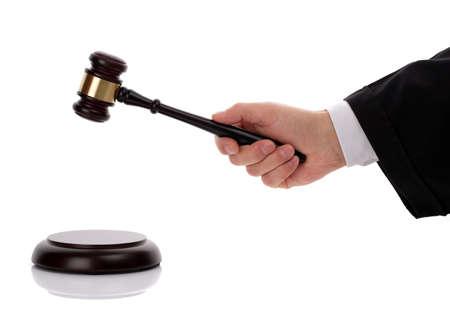 verdict: Judge hitting gavel giving his verdict