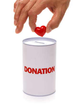 donation box with heart concept for charity or organ donation photo