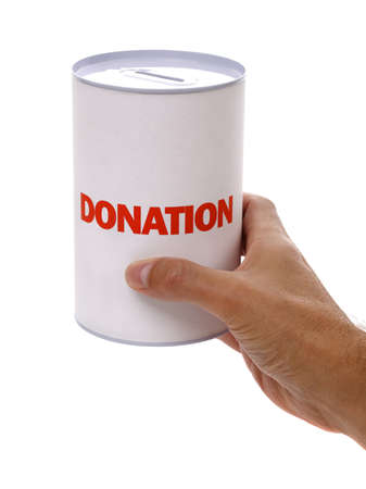 out of the box: Collecting for charity holding a donation box Stock Photo