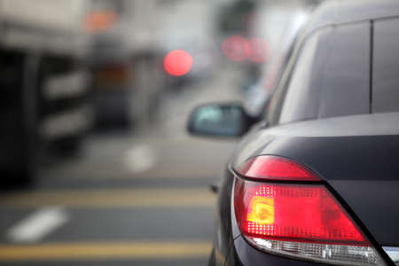 Rush hour traffic congestion focus on tail brake light photo