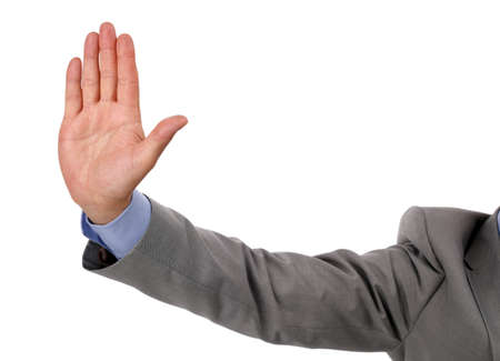 injunction: Businessman holds up his hand as a stop gesture Stock Photo