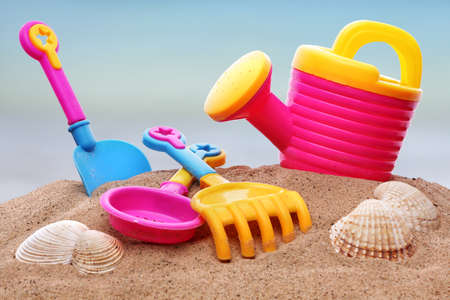 Summer beach toys in the sand photo