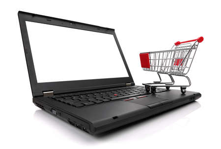 Laptop with shopping cart isolated on white background with blank screen for copy